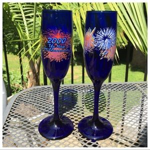 Other - Cobalt Blue New Millennium Champagne Glasses🥂